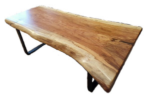 Single Slab Pecan Coffee Table